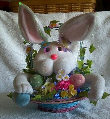 """Fiber Optic EASTER BUNNY & Basket TableTop/Centerpiece 12""""T Battery Operated-VGC"""