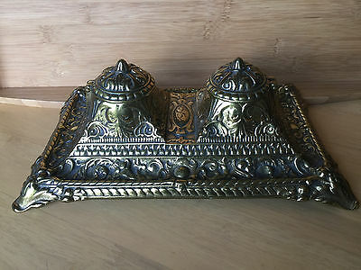 Beautiful Vintage Heavy Ornate Statement Piece Art Nouveau Brass Double Inkwell