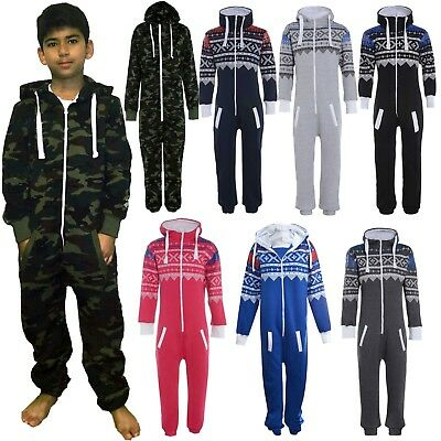 New Unisex Childrens Youth Boys Army Camouflage Hooded Onesie Micro fleece  4-14