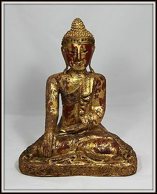 "Outstanding  ""Hand Carved Wooden Gilded Chinese Buddha""  ( 14.75"" H x 11.75"" W )"