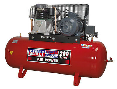 Sealey Tools Sac42055B Compressor 200Ltr Belt Drive 5.5Hp 3Ph 2-Stage With Cast