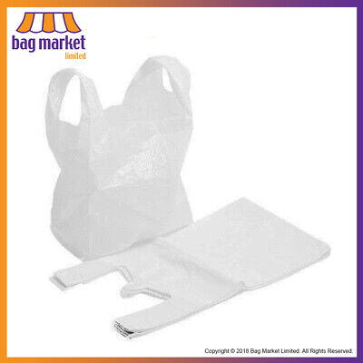 "White Plastic Vest Carrier Bags! | 11""x17""x21"" 