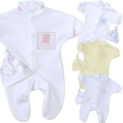 BabyPrem PREEMIE MICRO Baby Clothes Boys Girls Sleeper & Hat Set Outfit 1lb-3lb