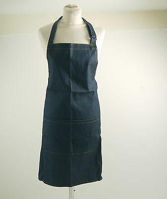 Denim Bib Apron with Adjustable Neck Strap and Pocket