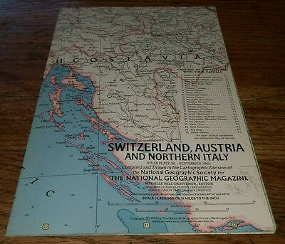 1965 Switzerland Austria And Northern Italy Atlas Plate 36 Map Rare Cartographic