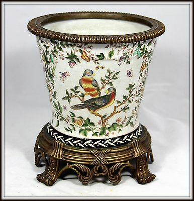 "Elegant ""Hand Painted Porcelain & Bronze Jardineire with Birds"" (10"" H x 10"" W)"