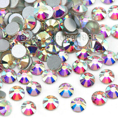 Hot Sale! 1440pcs Crystal AB Non Hotfix FlatBack Rhinestones Nail Art Decoration