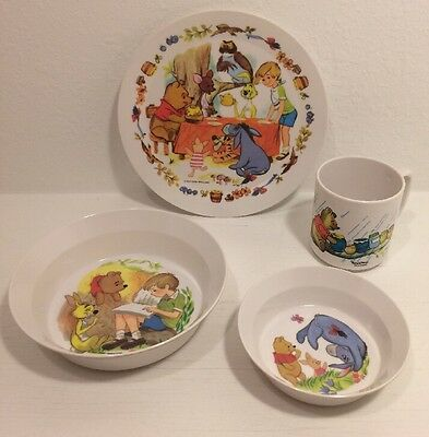 Disney Winnie The Pooh Melmac Melamine Child Plate Bowl Cup 4 Piece Set