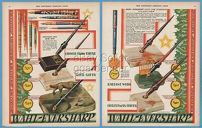 1928 Wahl Co Chicago IL Eversharp Gold Seal Fountain Pen Desk Sets Christmas Ad