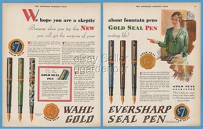 1928 Wahl Co Chicago IL Eversharp Gold Seal Fountain Pen Writing Magazine Ad