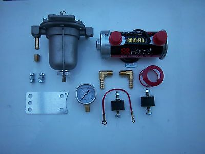 Facet Red Top Fuel Pump Kit With Alloy Bowl Filter King And Gauge