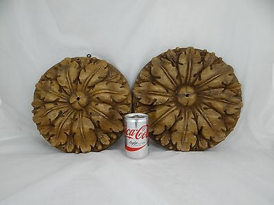 Pair of Large French Antique Hand Carved Wood Rosette/ Panel Architectural 18th