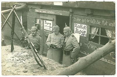 German Soldiers in Dug Out dated 1914, WW1, Original Photo Card