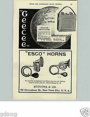 1905 PAPER AD Esco Bulb Horn 1906 Car Auto Automobile 99 Chambers St New York