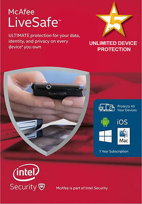 McAfee LiveSafe 2016 Unlimited Devices - PC MAC Android IOS, for 3 years - new