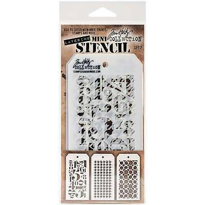 Tim Holtz Mini Layered Stencil Set 3/Pkg-Set #7 653341058614
