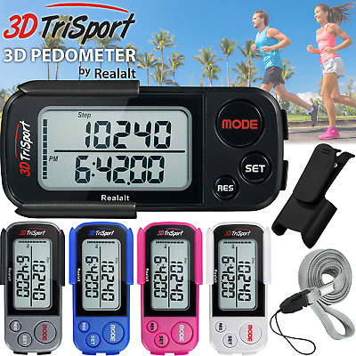 3DTriSport Supreme Quality Walking 3D Pedometer with Clip and Strap & Free eBook