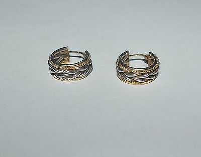 Designer Sterling Silver And 1/10 14 K Gold Filled Braided Earrings