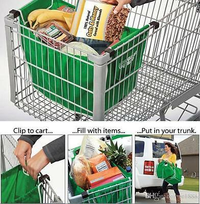 2 x Shopping Trolley Bags Foldable Reusable Supermarket Carry Bag Clips Grocery