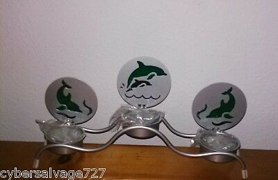 Three Dolphin Tea Light Candle Holder Metal With Candles