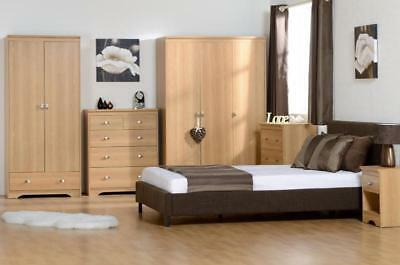 Regent Teak Effect Veneer Wardrobes, Chest Drawers, Bedside & Dressing Table Set