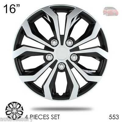 """New 16"""" Hubcaps Spyder Performance Black and Silver Wheel Covers For Honda 553"""