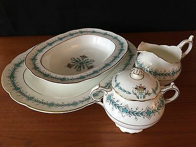 "Coalport ""geneva"" Pattern Serving Plate, Oval Bowl, Creamer And Sugar"