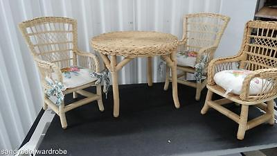 1987 American Girl Wicker Table And Three Chairs With Three Seat Cushions