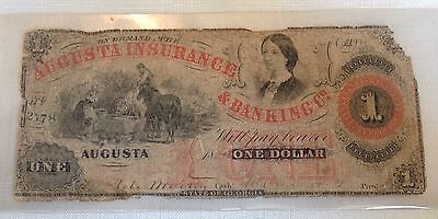 Augusta Insurance&Banking Co. $1 Note 1861 Serial #2178.