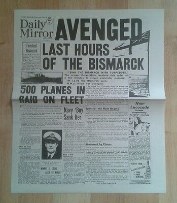 Daily Mirror NEWSPAPER-WW2- May 28th 1941- Avenged last hours of the Bismarck.