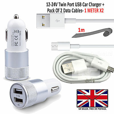 For LG Handsets -  In Car Fast Dual Charger PLUS 2 x Micro USB Charging Cables