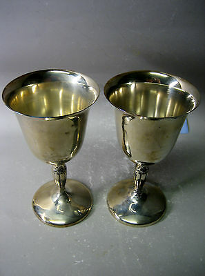 Pair hand crafted finest quality silver plated goblets