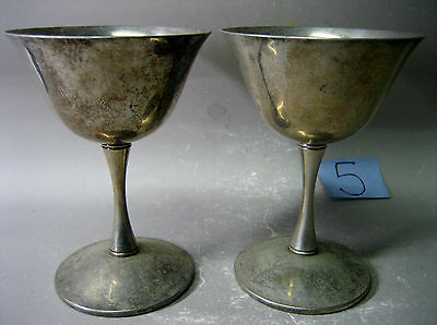Pair Valero Spanish silver plated goblets
