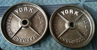"""York Barbell DEEP DISH RARE Olympic 45 lb Weight Plates Pair 2"""" Vintage 45 Pound"""