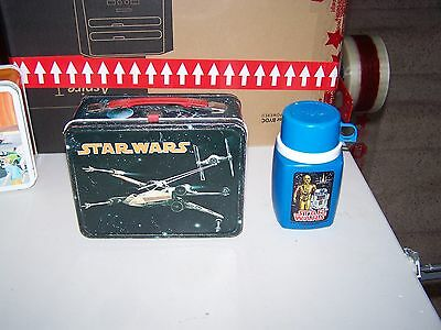 1977 Star Wars Lunchbox with Thermos Metal Tin  Lunch Box X-Wing Fighter Vader