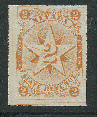 Nevada 2c Documentary Revenue Tax Stamp, Double Star, Dark Orange, Mint, Hinged