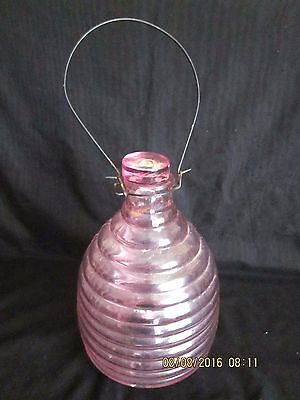 ~VINTAGE LARGE PINK GLASS WASP/FLY/BEE CATCHER with GLASS STOPPER-HANGER - VGC~
