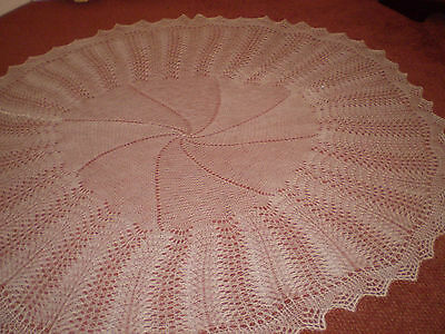 """NEW Hand Knitted White Circular Baby Shawl  approx. 58"""" diameter"""