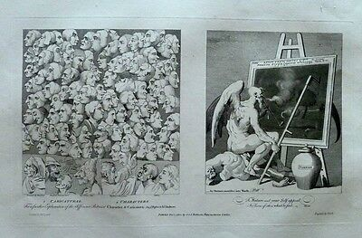 Antique 1802 William Hogarth Engraving Print - Characters, Caricaturas - Smoking