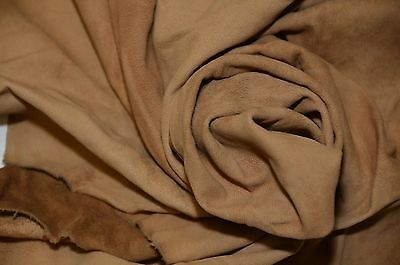 Lambskin Whole Hide & Pieces Suede Nappa Leather ( Light Brown )