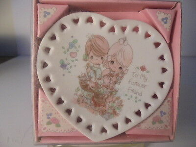 """Precious Moments """"to My Forever Friend """" Bisque Porcelain Mini Plate & Stand Mib"""