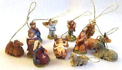 "Nativity Ornaments Mini Size Giftco Hand Painted Polystone 1"" Set of 12"