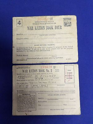 Lot of 2 Vintage War Ration Book No. 3/ Four Books with some Coupons Lot #3-0100