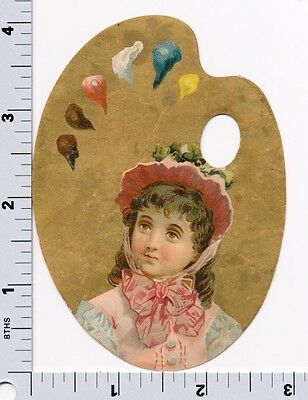 Young Girl Artists Palette | Victorian Trade Card |Union Pacific Tea Company