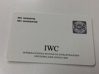 Autbentic IWC Warranty Card-Open With Stamp