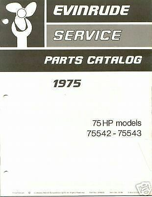 1975 Evinrude 75 HP Outboard Parts Catalog Manual