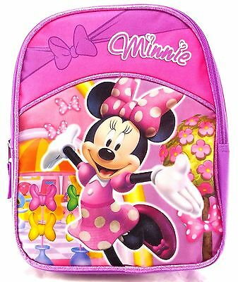"Disney Minnie Mouse Girls 10"" Canvas Pink School Backpack"