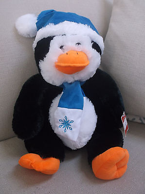 Plush Penguin With Blue And White Hat & Scarf W /snowflake 18 In