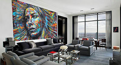 Massive canvas180cm x 100cm painting street art large abstract Australia By pepe