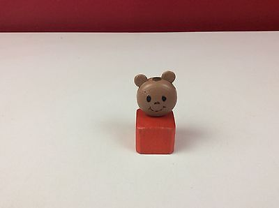 Vintage Wooden Little People Square Peg Bear Figure Fisher Price